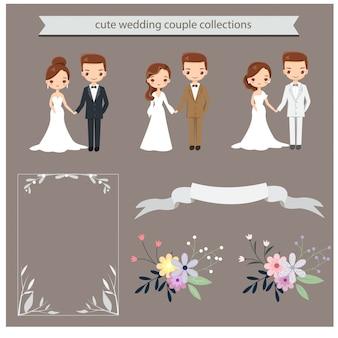 Personagem de casal casamento fofo para cartão de convites de casamento