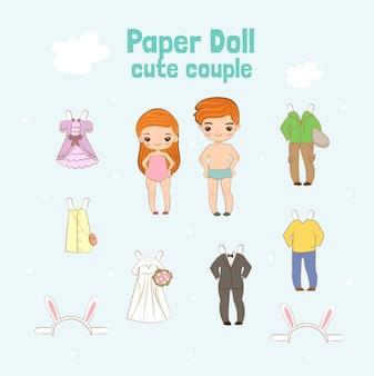 Personagem de casal de boneca de papel bonito
