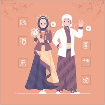 Personagem de casal de casamento islâmico tradicional da indonésia