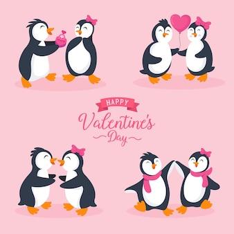 Personagem de casal de pinguins fofos em poses diferentes