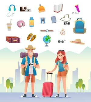 Personagem de casal de viajantes com ilustração de equipamento de viagem