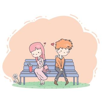 Personagem de casal flertando bonito dos desenhos animados na cadeira pública.