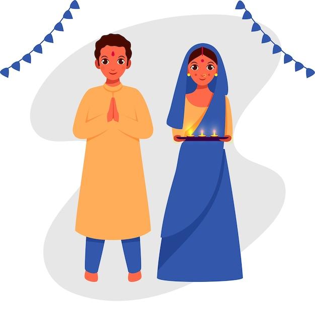 Personagem de casal indiano com placa de lâmpadas de óleo acesas (diya) em pose de boas-vindas.