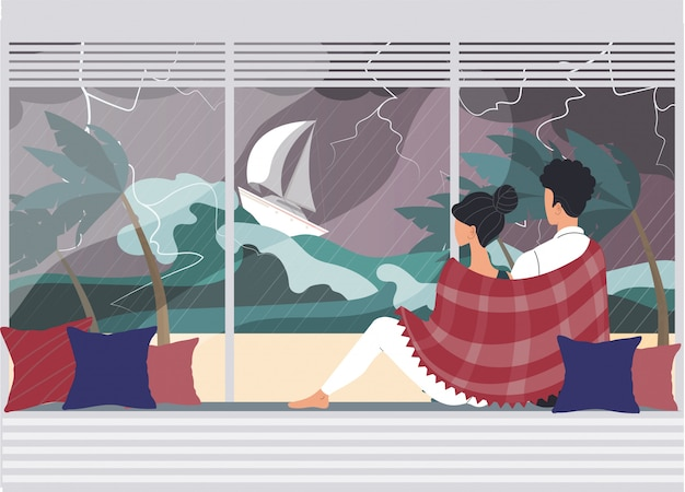 Personagem de casal, masculino, feminino assistindo tempestade desastre natural, ilustração plana de onda alta. cataclismo da água, mar perigoso.