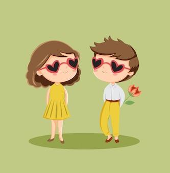 Personagem de casal romântico bonito apaixonado