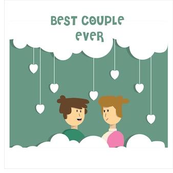 Personagem de casal romântico em ilustração vetorial mínima de estilo de design plano de frame de nuvem