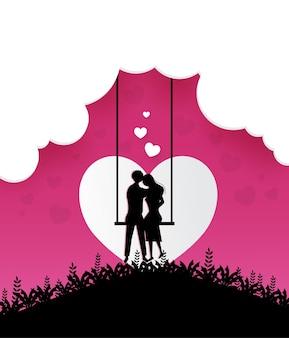 Personagem de casal sentado em balanço com elemento de corte de corações de sol para design romântico de dia dos namorados.