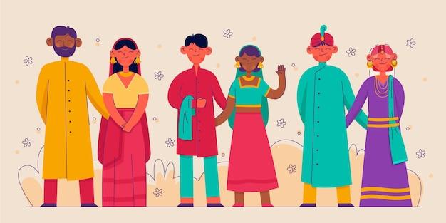 Personagem de casamento indiano