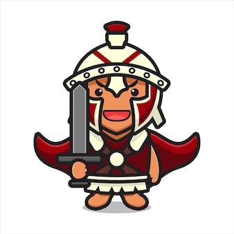 Personagem de cavaleiro romano bonito segurando a ilustração do ícone do vetor dos desenhos animados de espada. design isolado no branco. estilo liso dos desenhos animados.