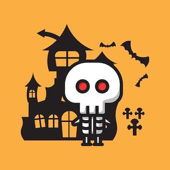 Personagem de caveira fofa celebração de halloween