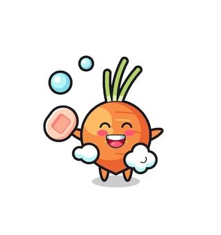 Personagem de cenoura está tomando banho enquanto segura o sabonete, design de estilo fofo para camiseta, adesivo, elemento de logotipo
