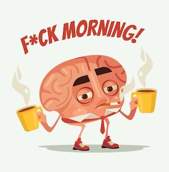 Personagem de cérebro de trabalhador de escritório cansado e sonolento beber café e fumar cigarro na manhã de segunda-feira, ilustração plana dos desenhos animados