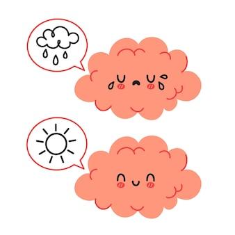 Personagem de cérebro engraçado fofo e bolha do discurso com sol e nuvem de chuva. conceito de personagem de humor triste e feliz do cérebro