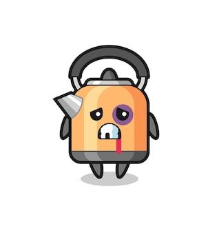 Personagem de chaleira ferida com um rosto machucado, design de estilo fofo para camiseta, adesivo, elemento de logotipo
