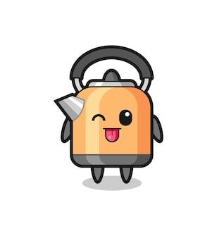 Personagem de chaleira fofa com expressão doce enquanto mostra a língua, design de estilo fofo para camiseta, adesivo, elemento de logotipo