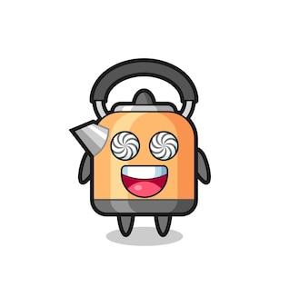 Personagem de chaleira fofa com olhos hipnotizados, design de estilo fofo para camiseta, adesivo, elemento de logotipo