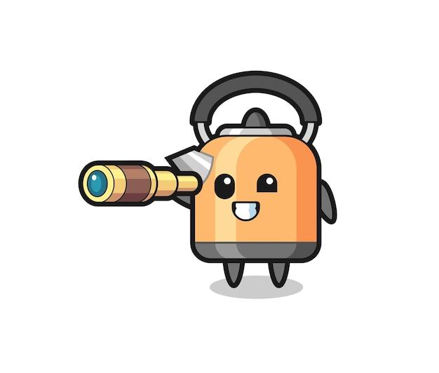 Personagem de chaleira fofa está segurando um telescópio antigo, design de estilo fofo para camiseta, adesivo, elemento de logotipo