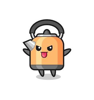 Personagem de chaleira impertinente em pose de zombaria, design de estilo fofo para camiseta, adesivo, elemento de logotipo