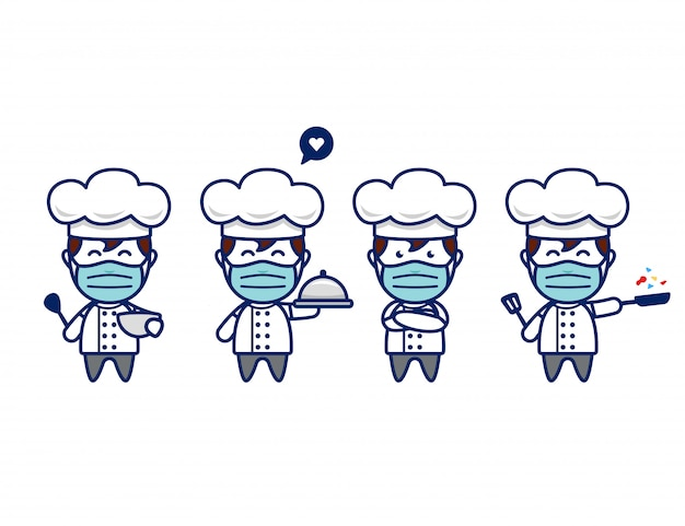 Personagem de chef bonito com máscara facial e chapéu de chef em pose de mascote de estilo chibi