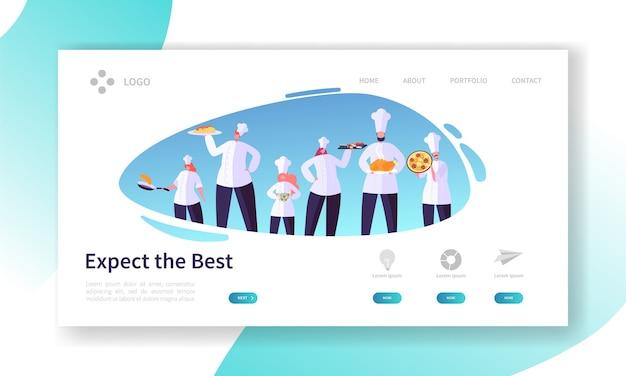 Personagem de chef com a página inicial do conjunto de pratos. conceito de cozinha do restaurante. profissionais em uniforme preparam o site ou página da web de alimentos. ilustração em vetor plana da indústria alimentar