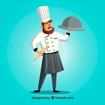Personagem de chef com um delicioso prato