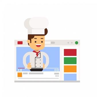 Personagem de chef compartilhando a experiência de cozinhar através do vlog