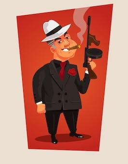 Personagem de chefe da máfia armado. ilustração dos desenhos animados