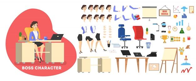 Personagem de chefe de empresário em terno para animação com várias vistas, penteado, emoção, pose e gesto.