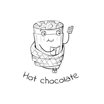 Personagem de chocolate quente com livro e xadrez no estilo doodle