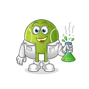Personagem de cientista do tênis. mascote dos desenhos animados