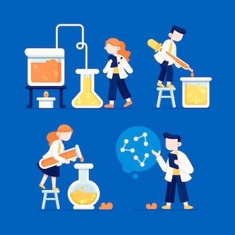 Personagem de cientista trabalhando usando produtos químicos