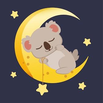 Personagem de coala fofo dormindo na lua grande com estrela.