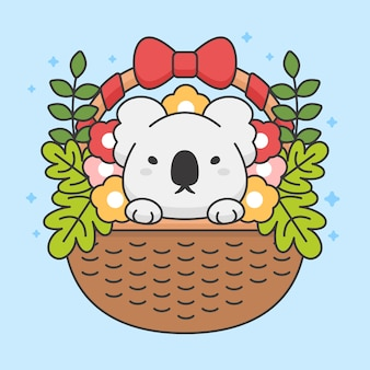 Personagem de coala fofo em uma cesta com flores e folhas