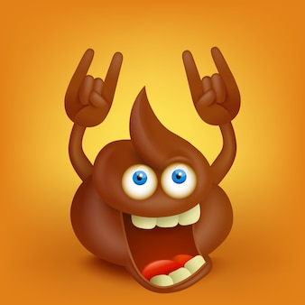 Personagem de cocô engraçado dos desenhos animados, fazendo sinal de hard rock