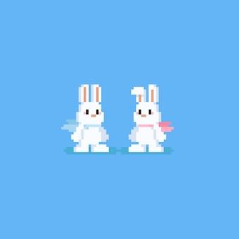 Personagem de coelho de pixel com cachecol
