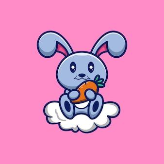 Personagem de coelho em ilustração de estilo de desenho animado