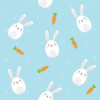 Personagem de coelho fofo com padrão de cenoura sem emenda sobre fundo azul céu.