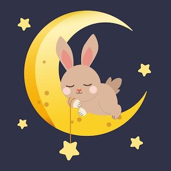Personagem de coelho fofo dormindo com a lua e a estrela no azul escuro