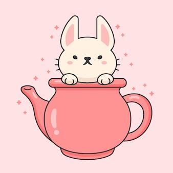 Personagem de coelho fofo em uma chaleira de chá em cerâmica