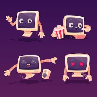 Personagem de computador bonito em poses diferentes