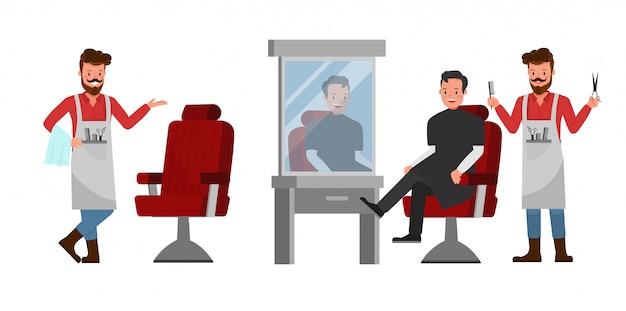 Personagem de conjunto de barbeiro