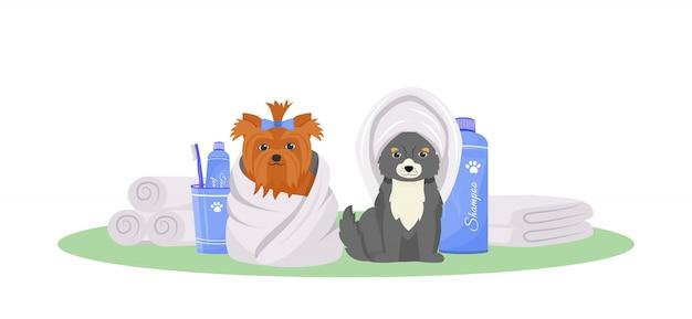 Personagem de cor plana de cães lavados