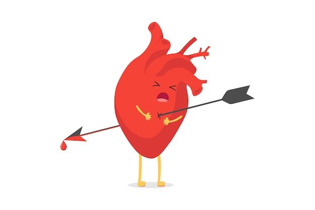 Personagem de coração bonito dos desenhos animados perfurada sendo baleada por uma emoção triste de emoji de seta. o mascote do órgão circulatório de vetor em dor e sofrimento simboliza o amor quebrado e a separação. ilustração eps isolada