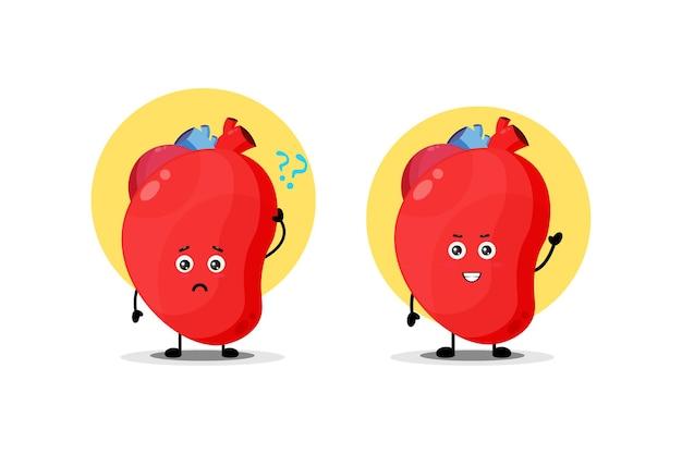 Personagem de coração de órgão fofo com expressão confusa e feliz