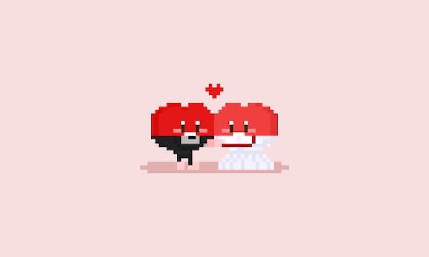 Personagem de coração feliz de pixel com panos de casamento.