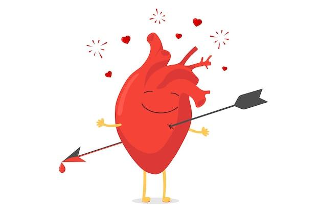 Personagem de coração humano bonito dos desenhos animados perfurado sendo baleado pela emoção feliz emoji de seta. felicidade tonta e os corações voam e explodem. símbolo de amor do órgão circulatório do vetor. ilustração engraçada de eps