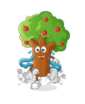 Personagem de corredor de macieira. mascote dos desenhos animados