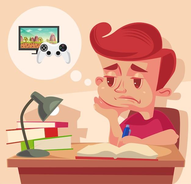 Personagem de criança em idade escolar não quer fazer lição de casa