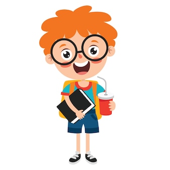 Personagem de criança engraçada da escola