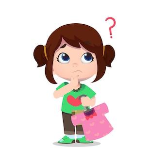 Personagem de criança fofa comprando roupas